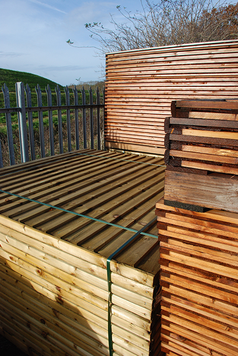 Stacked fence panels at Bradnam's Joinery supplies